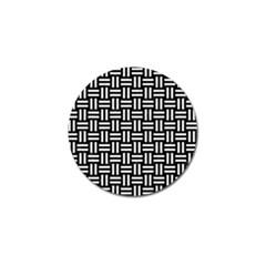 Woven1 Black Marble & White Linen (r) Golf Ball Marker