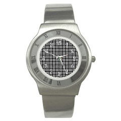 Woven1 Black Marble & White Linen (r) Stainless Steel Watch