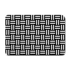 Woven1 Black Marble & White Linen (r) Small Doormat