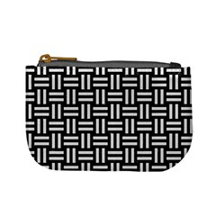 Woven1 Black Marble & White Linen (r) Mini Coin Purses