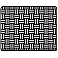 Woven1 Black Marble & White Linen (r) Fleece Blanket (medium)