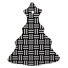 Woven1 Black Marble & White Linen (r) Christmas Tree Ornament (two Sides)