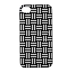 Woven1 Black Marble & White Linen (r) Apple Iphone 4/4s Hardshell Case With Stand