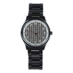 Woven1 Black Marble & White Linen (r) Stainless Steel Round Watch