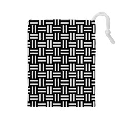 Woven1 Black Marble & White Linen (r) Drawstring Pouches (large)