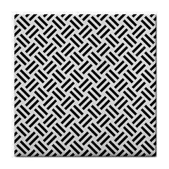 Woven2 Black Marble & White Linen Tile Coasters