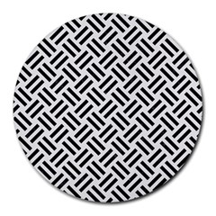 Woven2 Black Marble & White Linen Round Mousepads