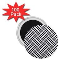 Woven2 Black Marble & White Linen 1 75  Magnets (100 Pack)