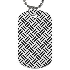 Woven2 Black Marble & White Linen Dog Tag (two Sides)