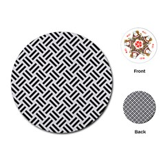 Woven2 Black Marble & White Linen Playing Cards (round)