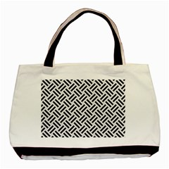 Woven2 Black Marble & White Linen Basic Tote Bag (two Sides)