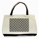 WOVEN2 BLACK MARBLE & WHITE LINEN Basic Tote Bag (Two Sides) Front