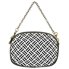 Woven2 Black Marble & White Linen Chain Purses (two Sides)