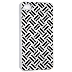 Woven2 Black Marble & White Linen Apple Iphone 4/4s Seamless Case (white)