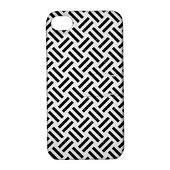 Woven2 Black Marble & White Linen Apple Iphone 4/4s Hardshell Case With Stand