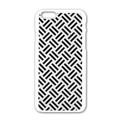 Woven2 Black Marble & White Linen Apple Iphone 6/6s White Enamel Case