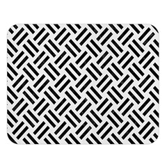 Woven2 Black Marble & White Linen Double Sided Flano Blanket (large)