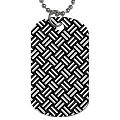 Woven2 Black Marble & White Linen (r) Dog Tag (one Side)