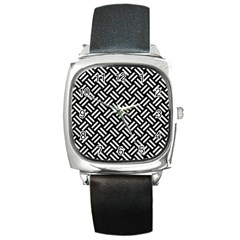 Woven2 Black Marble & White Linen (r) Square Metal Watch