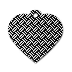Woven2 Black Marble & White Linen (r) Dog Tag Heart (two Sides)