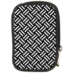 Woven2 Black Marble & White Linen (r) Compact Camera Cases