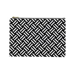 Woven2 Black Marble & White Linen (r) Cosmetic Bag (large)