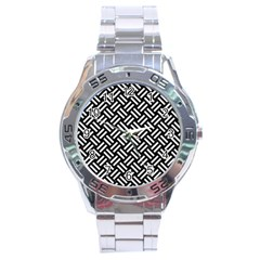 Woven2 Black Marble & White Linen (r) Stainless Steel Analogue Watch