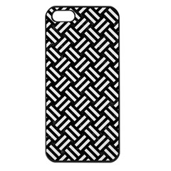 Woven2 Black Marble & White Linen (r) Apple Iphone 5 Seamless Case (black)