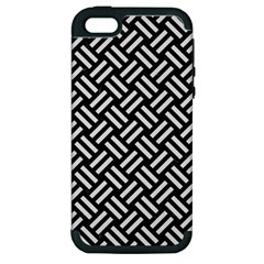 Woven2 Black Marble & White Linen (r) Apple Iphone 5 Hardshell Case (pc+silicone)
