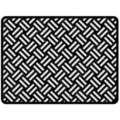 Woven2 Black Marble & White Linen (r) Double Sided Fleece Blanket (large)
