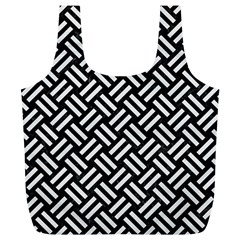 Woven2 Black Marble & White Linen (r) Full Print Recycle Bags (l)