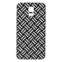 Woven2 Black Marble & White Linen (r) Samsung Galaxy S5 Back Case (white)