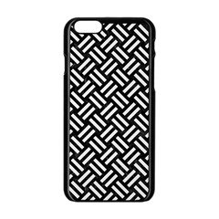 Woven2 Black Marble & White Linen (r) Apple Iphone 6/6s Black Enamel Case