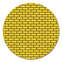 Brick1 Black Marble & Yellow Colored Pencil Magnet 5  (round)