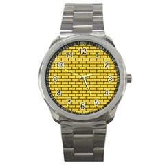 Brick1 Black Marble & Yellow Colored Pencil Sport Metal Watch
