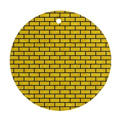 Brick1 Black Marble & Yellow Colored Pencil Round Ornament (two Sides)