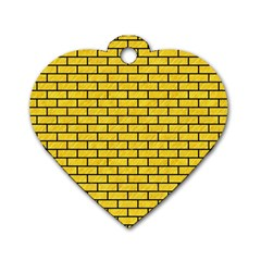 Brick1 Black Marble & Yellow Colored Pencil Dog Tag Heart (two Sides)