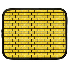 Brick1 Black Marble & Yellow Colored Pencil Netbook Case (large)