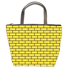 Brick1 Black Marble & Yellow Colored Pencil Bucket Bags