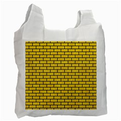 Brick1 Black Marble & Yellow Colored Pencil Recycle Bag (one Side)