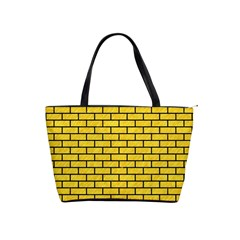 Brick1 Black Marble & Yellow Colored Pencil Shoulder Handbags
