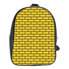 Brick1 Black Marble & Yellow Colored Pencil School Bag (large)