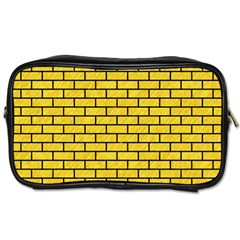 Brick1 Black Marble & Yellow Colored Pencil Toiletries Bags