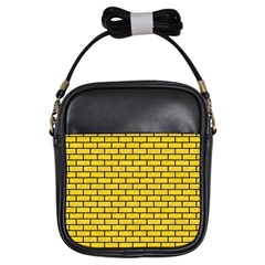 Brick1 Black Marble & Yellow Colored Pencil Girls Sling Bags