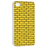 BRICK1 BLACK MARBLE & YELLOW COLORED PENCIL Apple iPhone 4/4s Seamless Case (White) Front