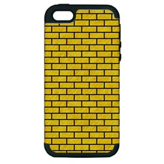 Brick1 Black Marble & Yellow Colored Pencil Apple Iphone 5 Hardshell Case (pc+silicone)