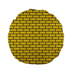 Brick1 Black Marble & Yellow Colored Pencil Standard 15  Premium Round Cushions