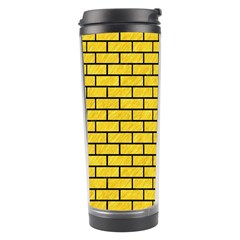 Brick1 Black Marble & Yellow Colored Pencil Travel Tumbler
