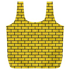 Brick1 Black Marble & Yellow Colored Pencil Full Print Recycle Bags (l)