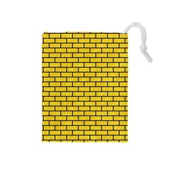 Brick1 Black Marble & Yellow Colored Pencil Drawstring Pouches (medium)